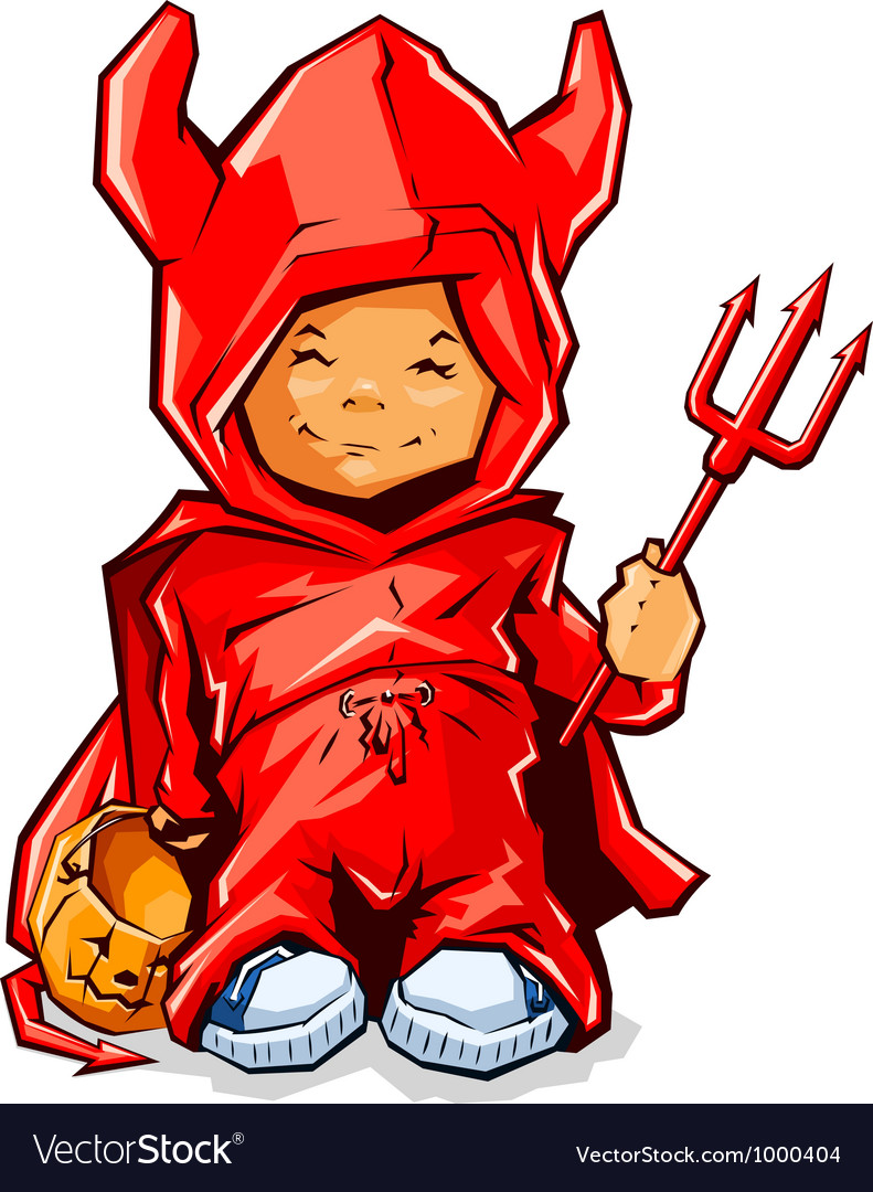Little boy in demons costume vector | Price: 3 Credit (USD $3)
