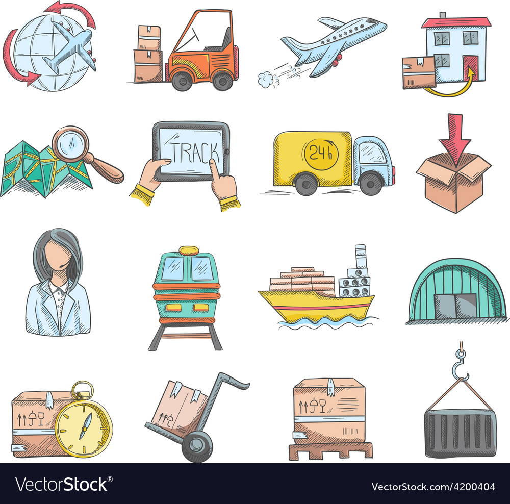 Logistics sketch icons set vector | Price: 1 Credit (USD $1)