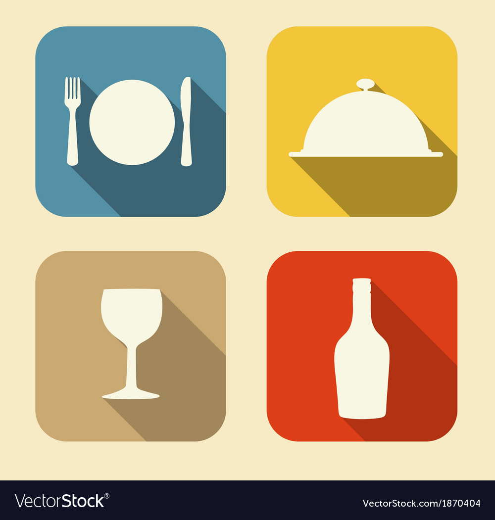 Modern flat food icon set for web and mobile vector | Price: 1 Credit (USD $1)