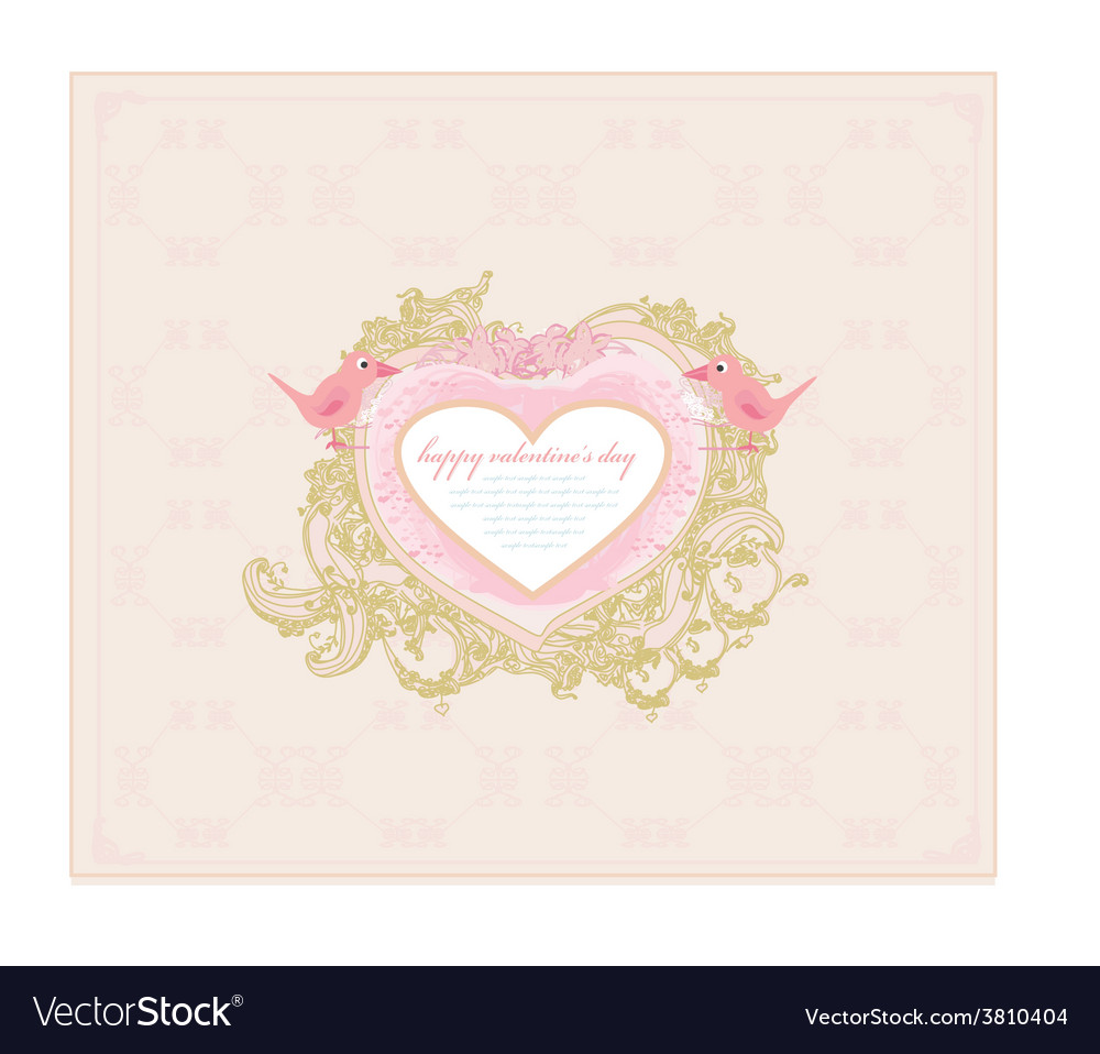 Valentines day greeting card with 2 sweet love vector | Price: 1 Credit (USD $1)