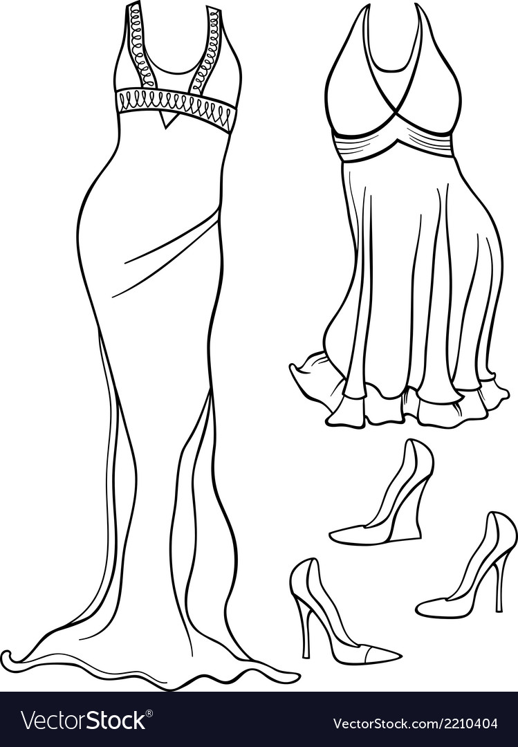 Women clothes set coloring page vector | Price: 1 Credit (USD $1)