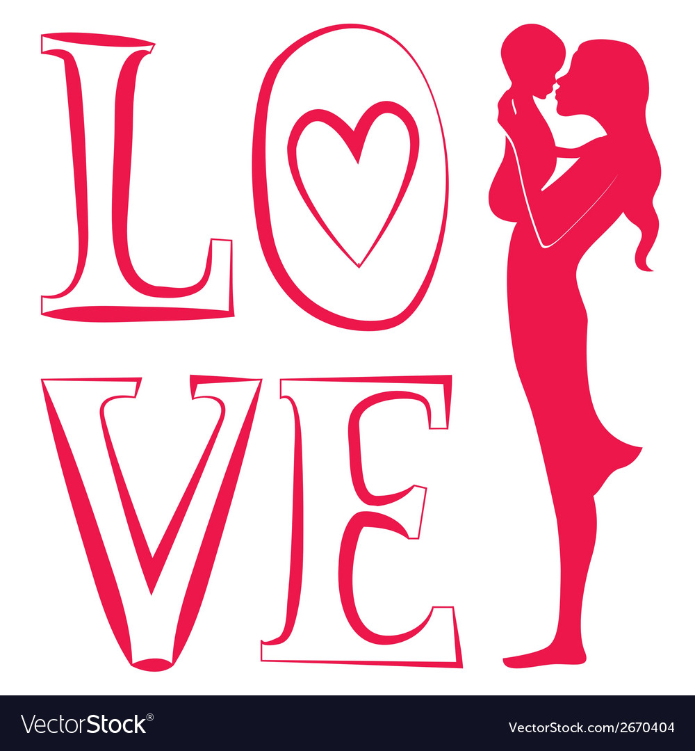 Young mother with baby one red color vector | Price: 1 Credit (USD $1)