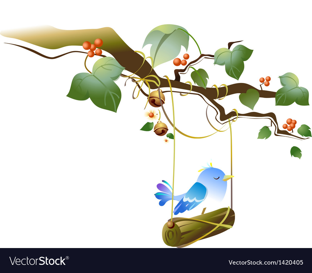Bird on tree swing vector | Price: 1 Credit (USD $1)