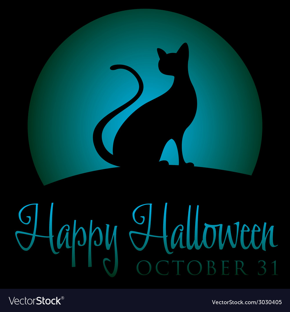 Black cat rising moon halloween card in format vector | Price: 1 Credit (USD $1)