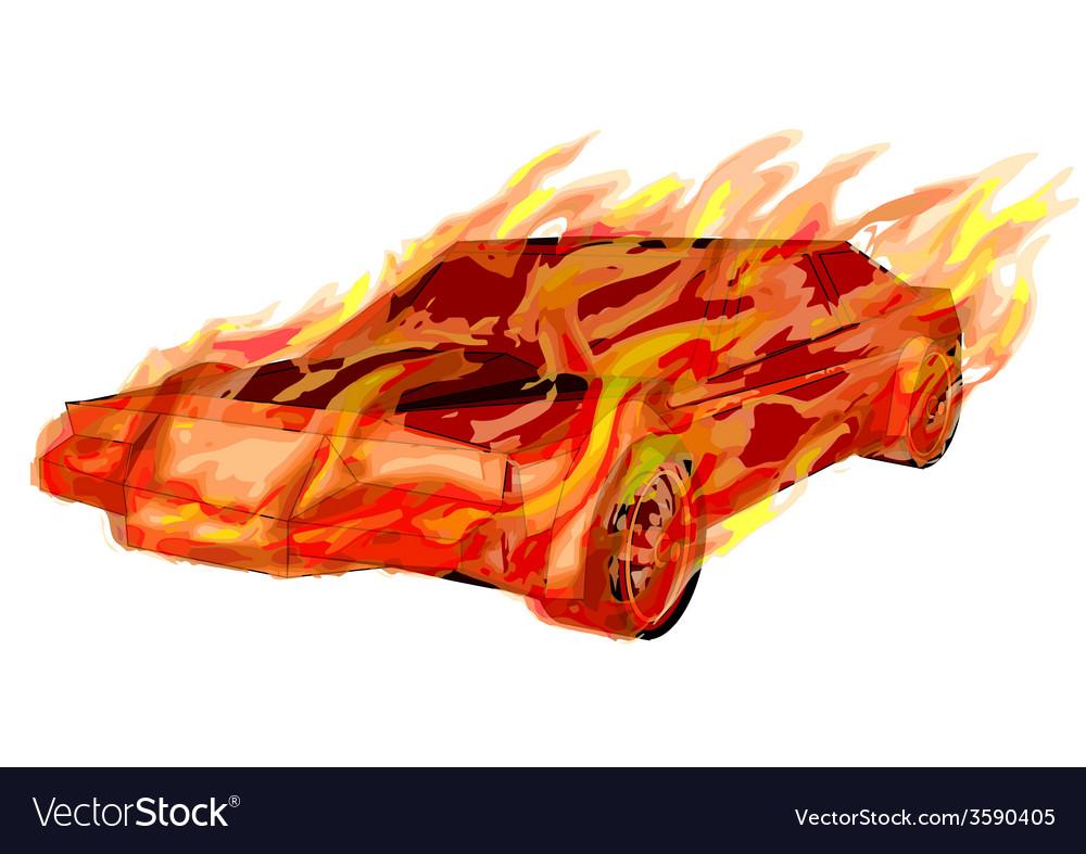 Burning car vector | Price: 1 Credit (USD $1)