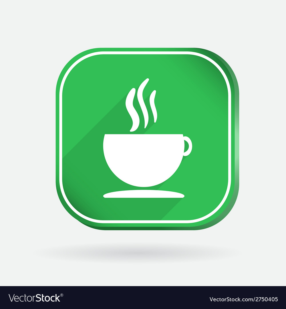 Cup of hot drink color square icon vector | Price: 1 Credit (USD $1)