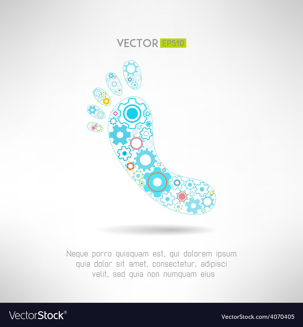 Feet massage sign and logo with gears health vector   Price: 1 Credit (USD $1)