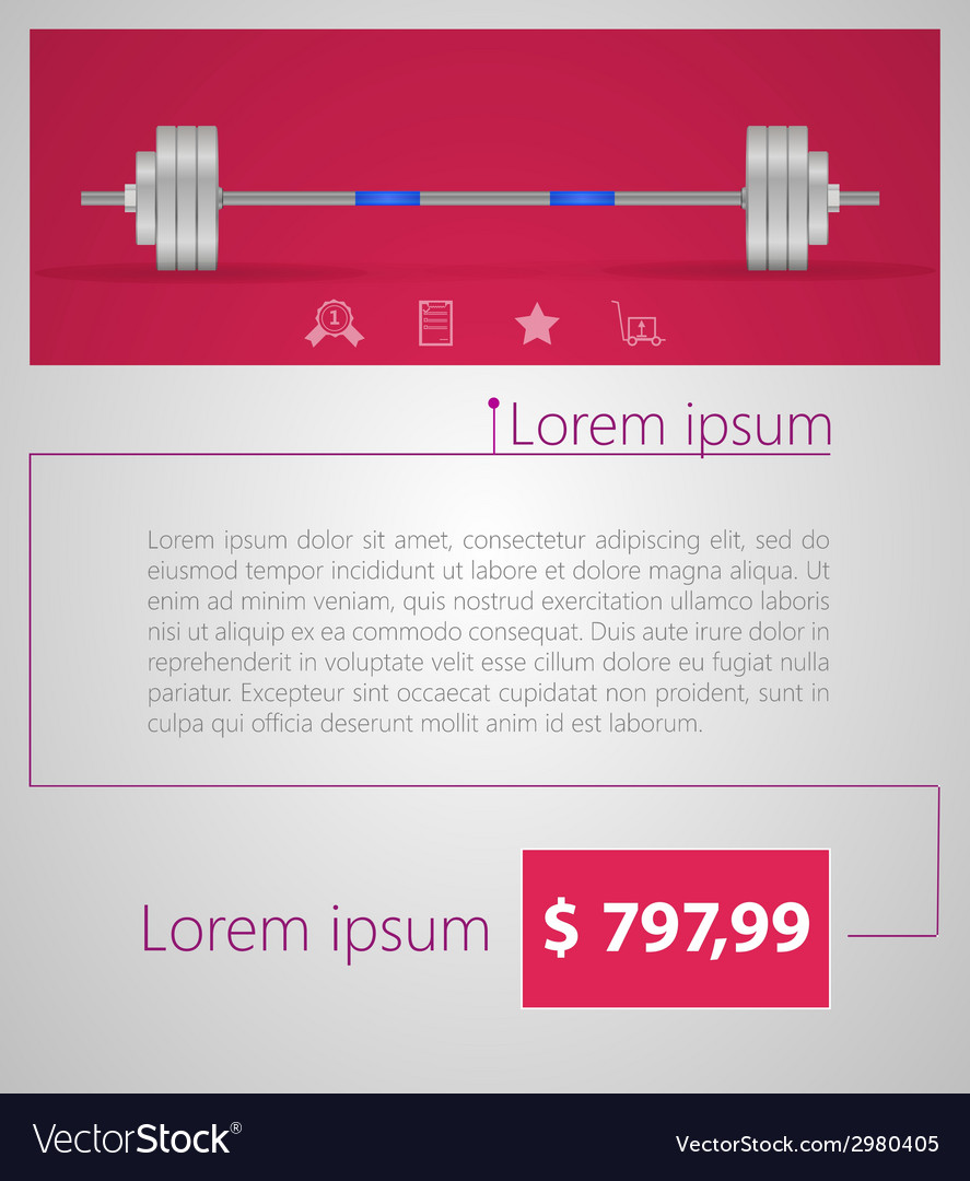 Flat minimalist template business design barbell vector | Price: 1 Credit (USD $1)
