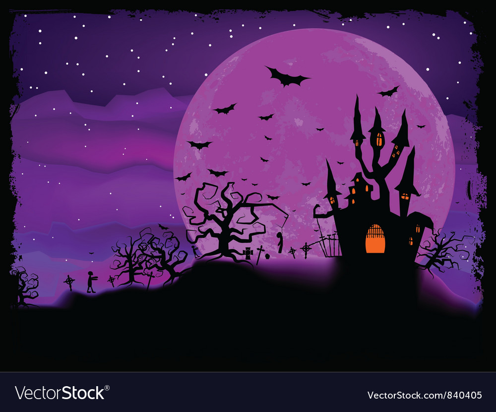 Halloween mansion background vector | Price: 1 Credit (USD $1)