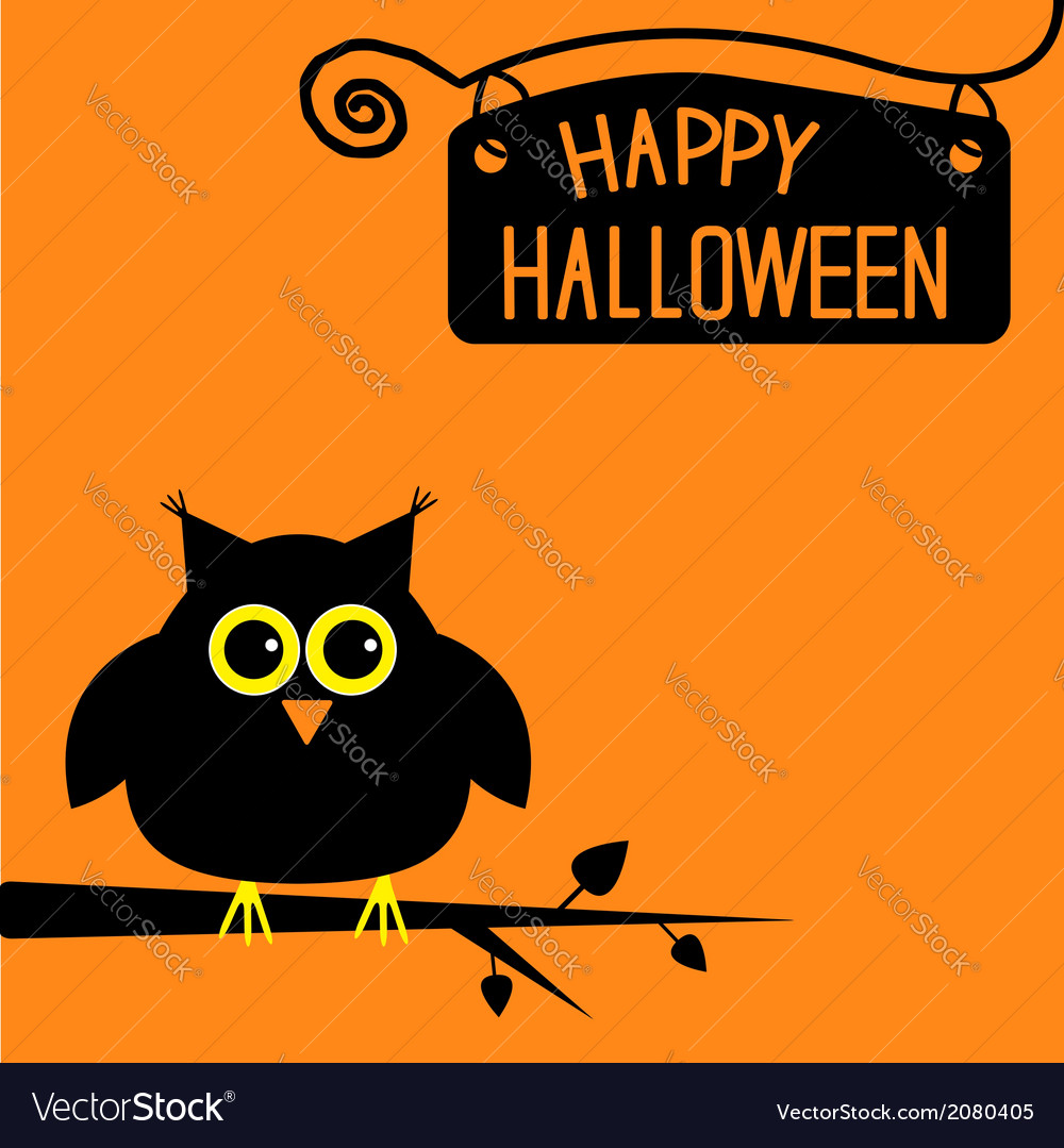 Happy halloween cute owl card vector | Price: 1 Credit (USD $1)