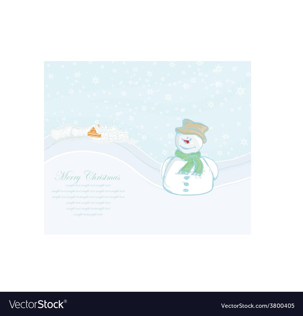 Happy snowman on winter landscape card vector   Price: 1 Credit (USD $1)