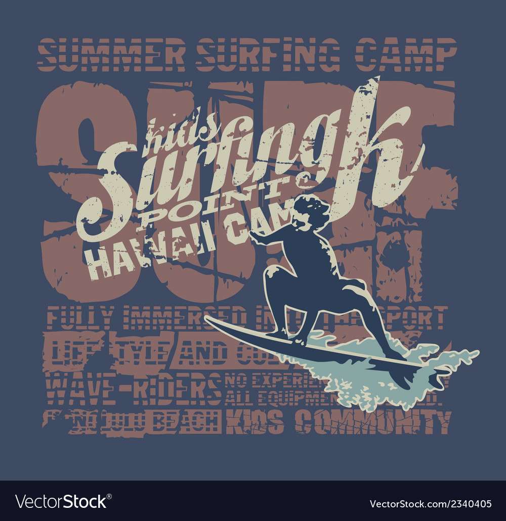 Hawaii surfing camp vector | Price: 1 Credit (USD $1)