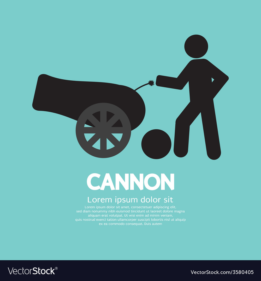 Human with cannon black symbol vector | Price: 1 Credit (USD $1)