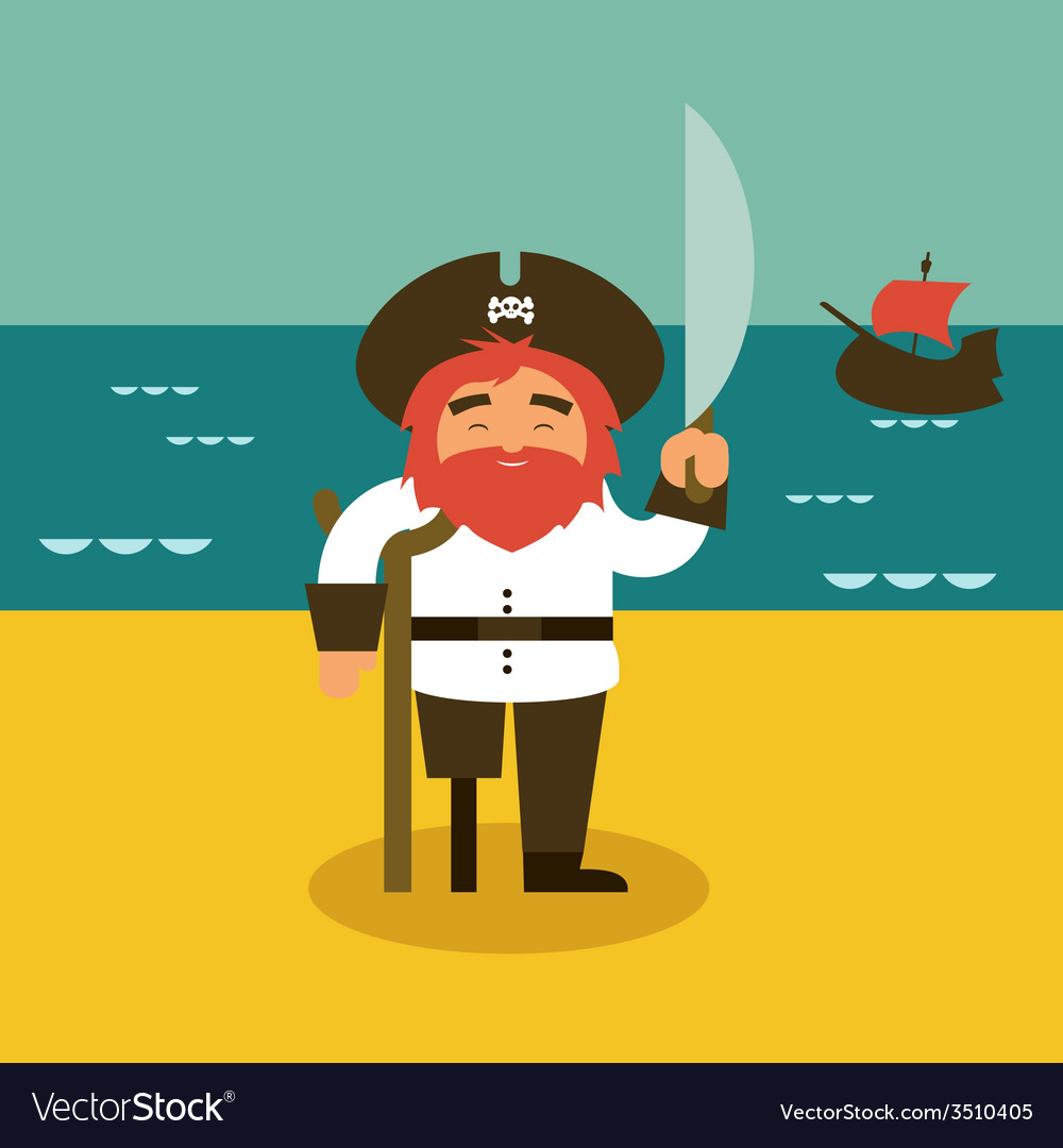 Pirate and sea vector | Price: 1 Credit (USD $1)