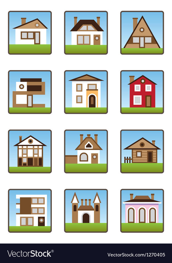 Private houses and homes icons set vector | Price: 3 Credit (USD $3)