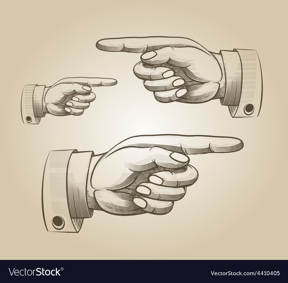 Retro pointing hand vector | Price: 1 Credit (USD $1)