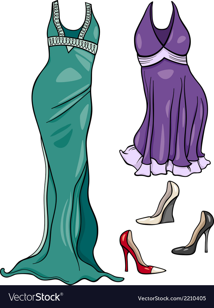 Women clothes objects cartoon set vector   Price: 1 Credit (USD $1)