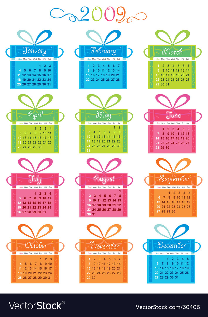 2009 calendar with presents vector | Price: 1 Credit (USD $1)