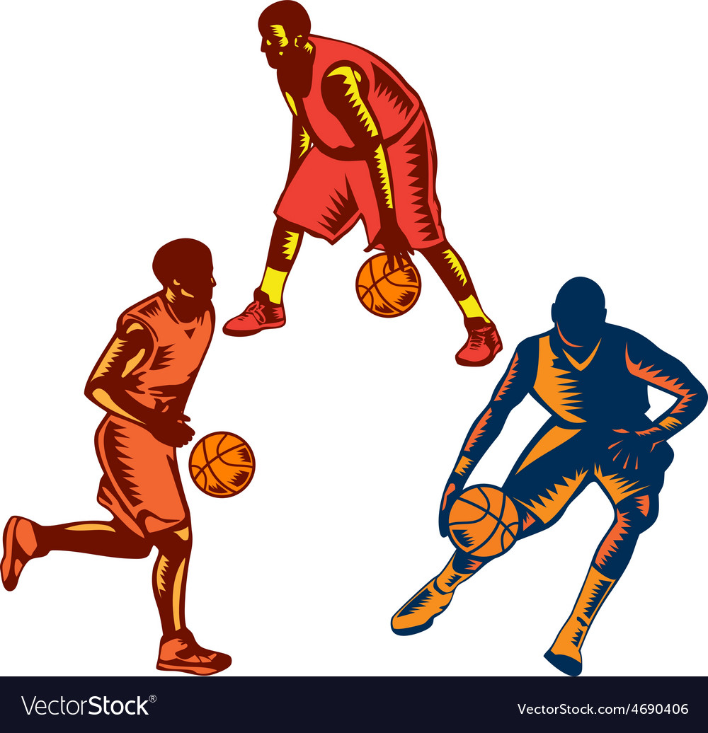 Basketball player dribble woodcut collection vector   Price: 1 Credit (USD $1)