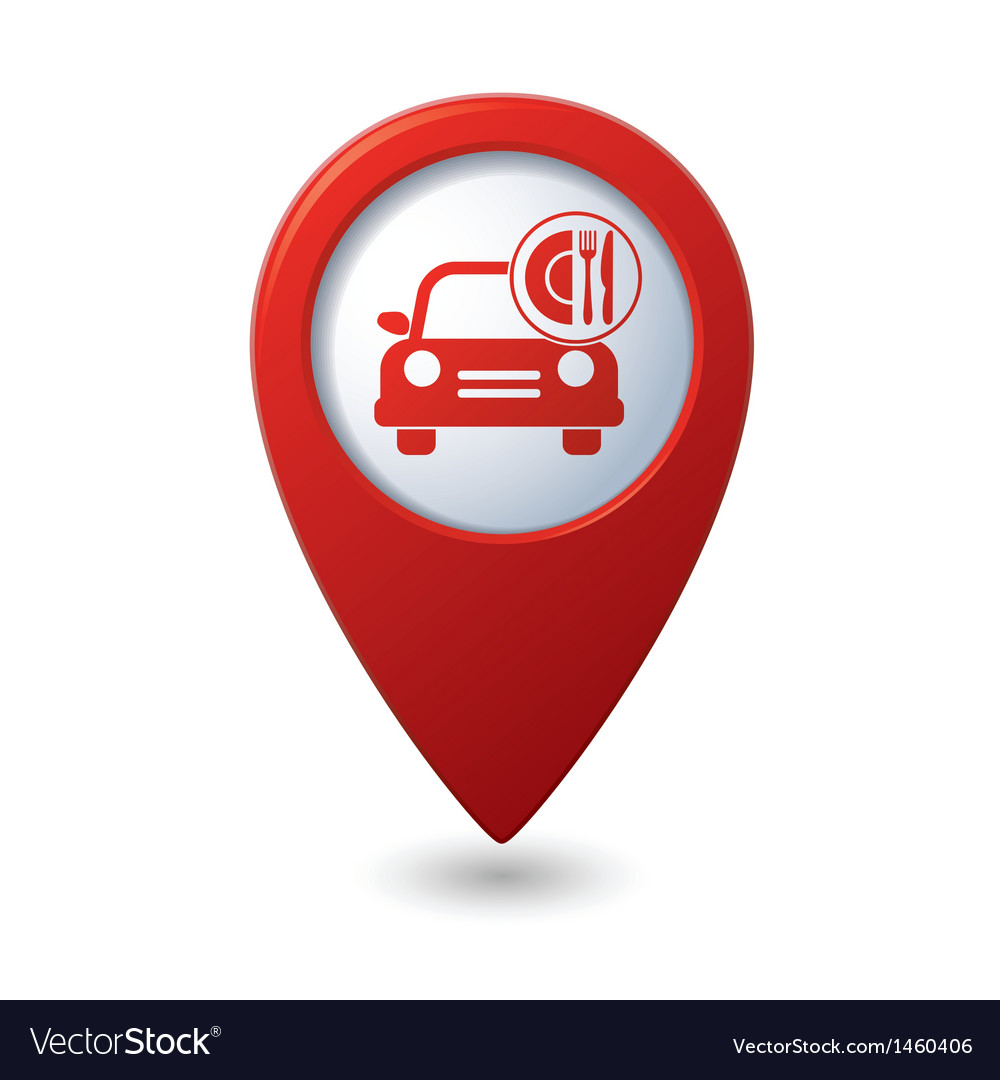 Car with fast food icon on red pointer vector | Price: 1 Credit (USD $1)
