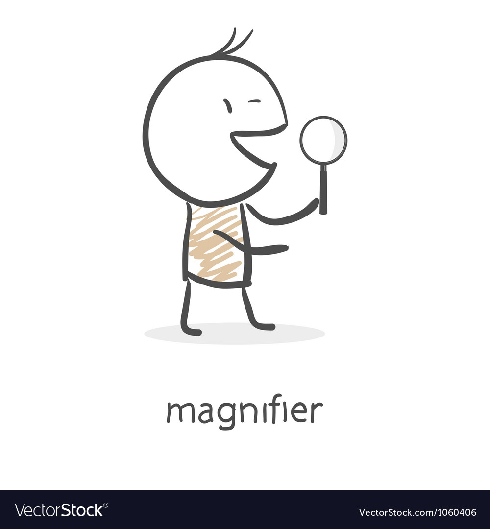 Cartoon man holding a magnifying glass vector | Price: 1 Credit (USD $1)