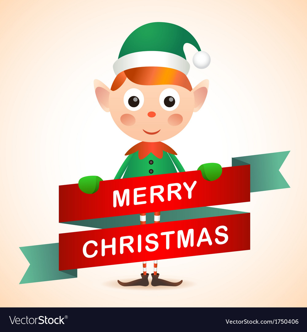 Christmas elf card vector | Price: 1 Credit (USD $1)