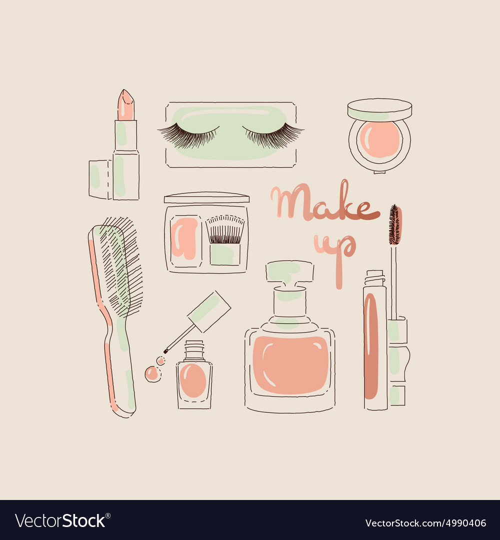 Collection of make up and cosmetics vector