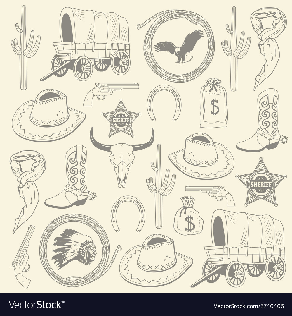 Cowboy seamless pattern vector