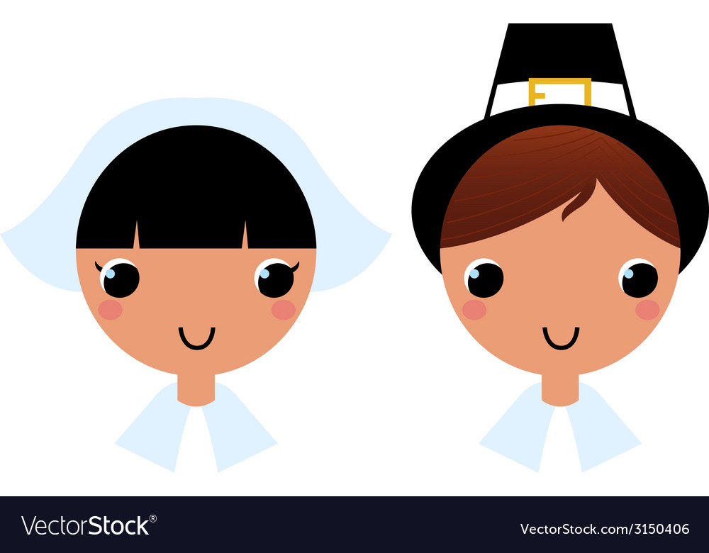 Cute thanksgiving couple isolated on white vector | Price: 1 Credit (USD $1)