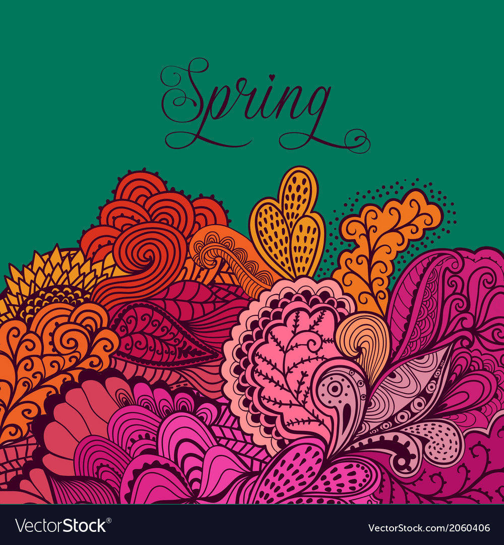 Decorative element lace border spring lettering vector | Price: 1 Credit (USD $1)