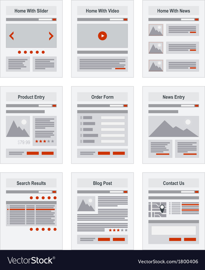 Internet site map navigation structure prototype vector | Price: 1 Credit (USD $1)