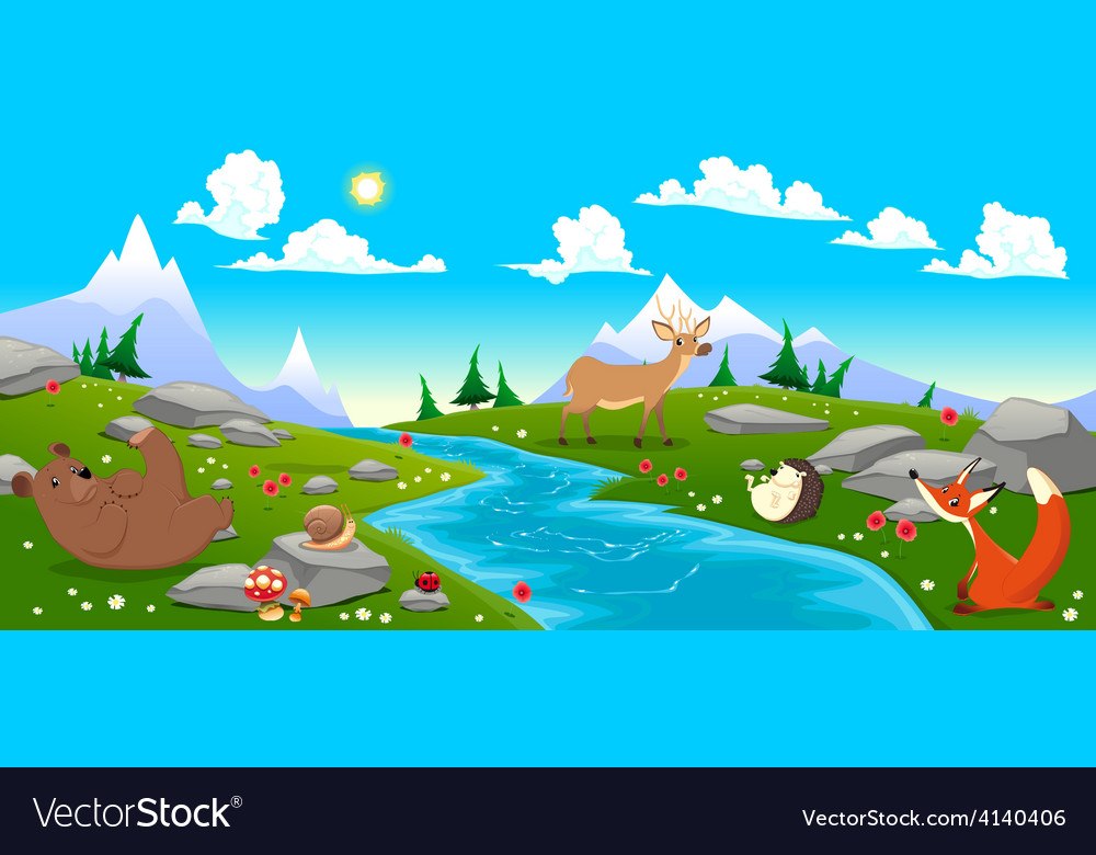 Mountain landscape with river and animals vector | Price: 3 Credit (USD $3)