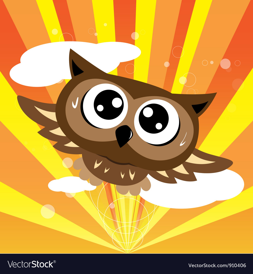 Owl flying quickly vector | Price: 1 Credit (USD $1)