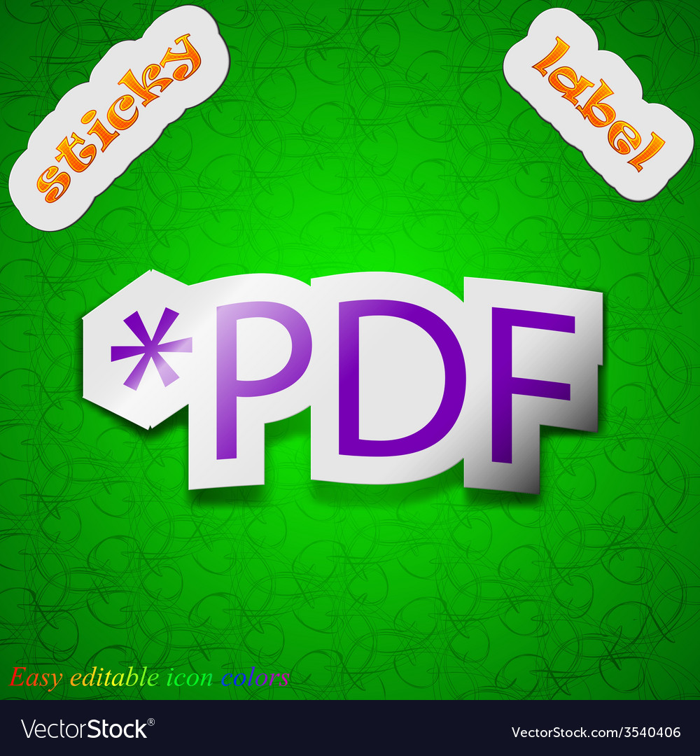 Pdf file extension icon sign symbol chic colored vector | Price: 1 Credit (USD $1)