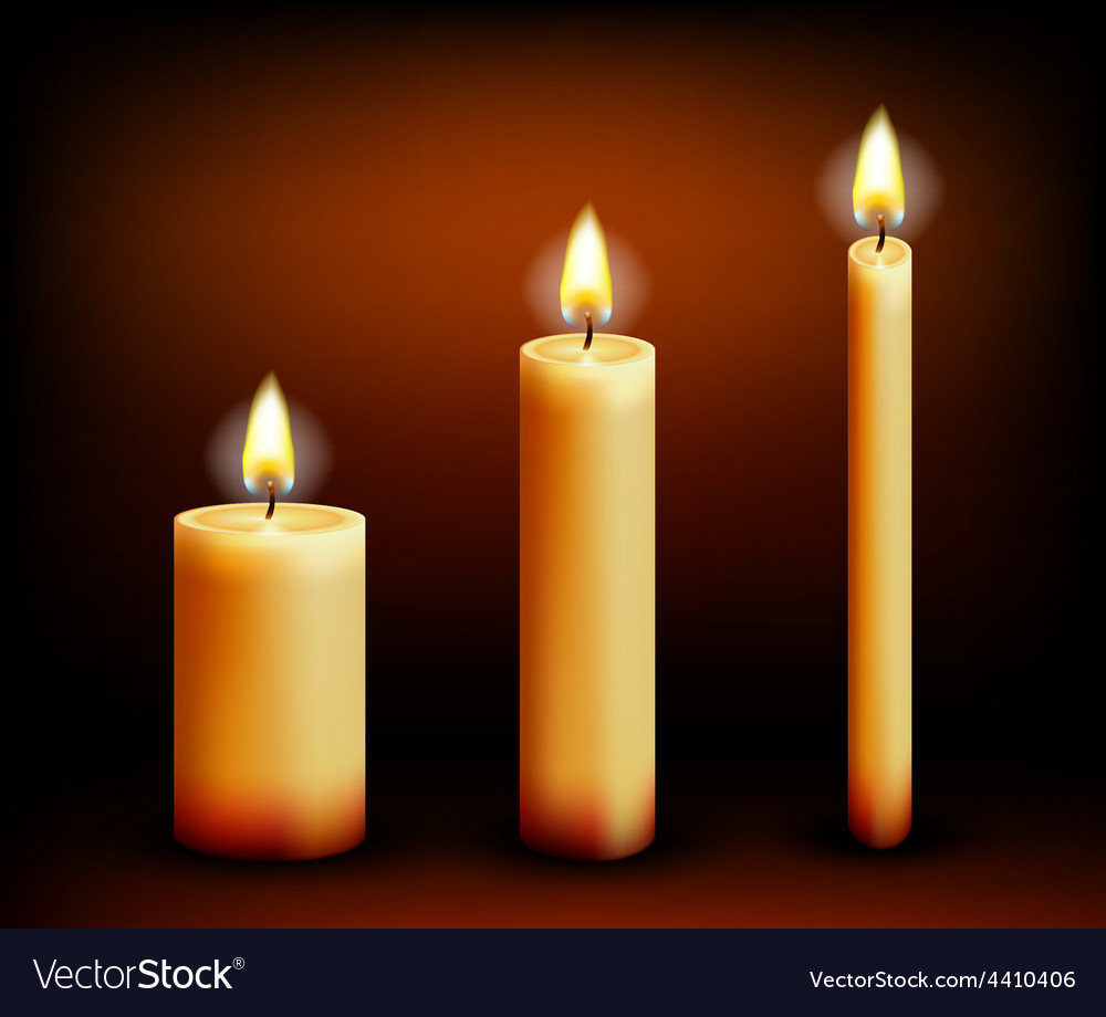 Realistic candles in different shapes vector | Price: 1 Credit (USD $1)