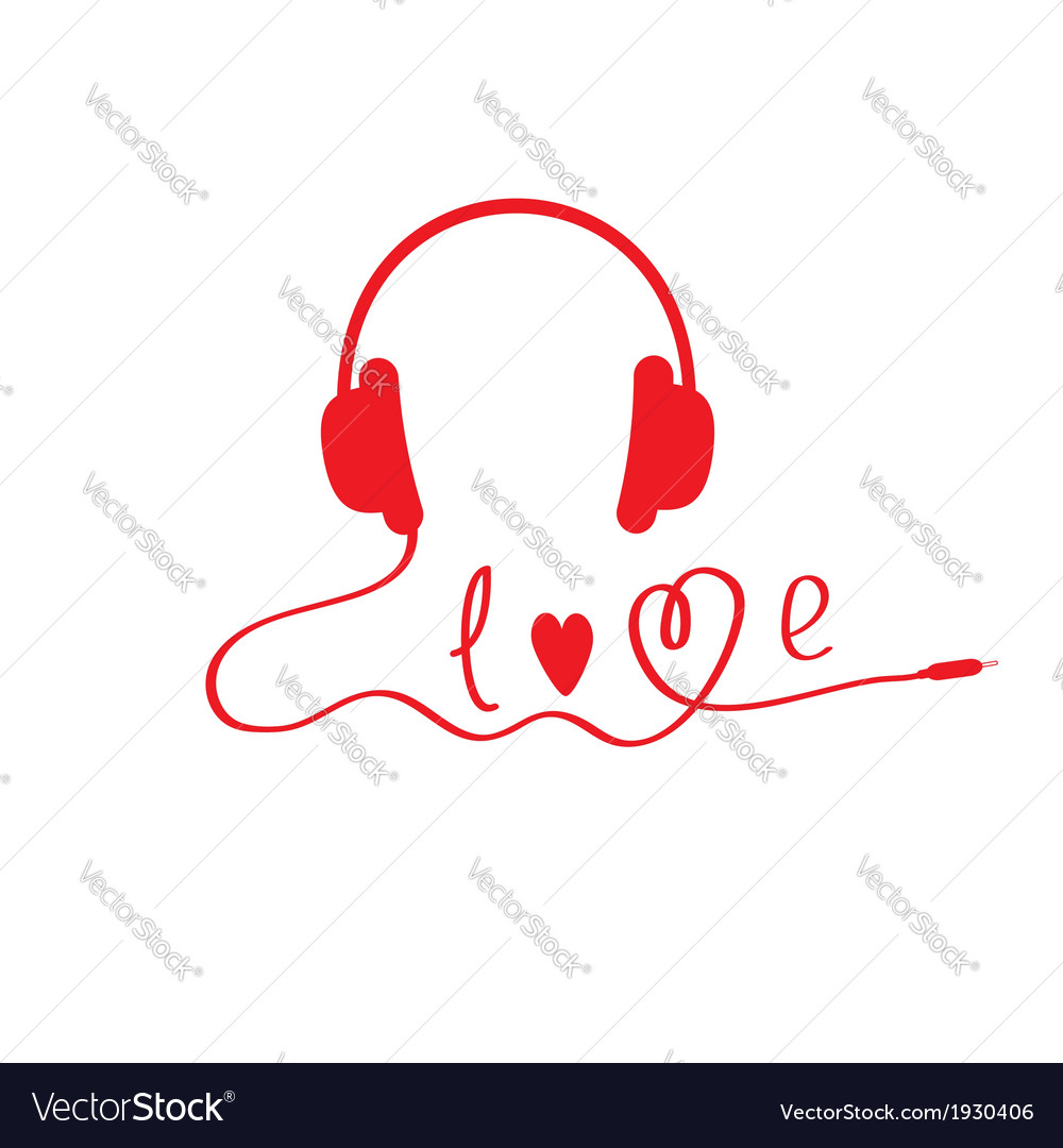 Red headphones white background love card vector | Price: 1 Credit (USD $1)
