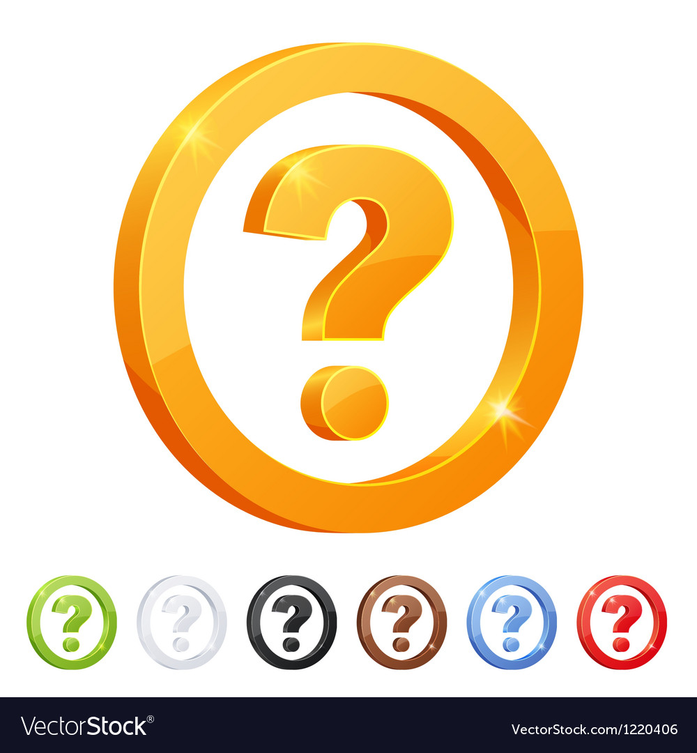 Set of 7 question symbol in different colors vector | Price: 1 Credit (USD $1)