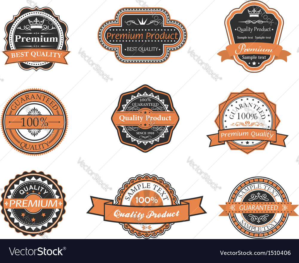 Set of retro premium labels vector | Price: 1 Credit (USD $1)