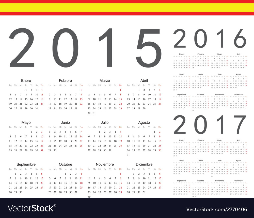Set of spanish 2015 2016 2017 year calendars vector | Price: 1 Credit (USD $1)