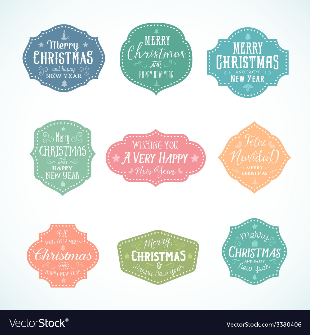 Vintage typography soft color cute christmas vector | Price: 1 Credit (USD $1)
