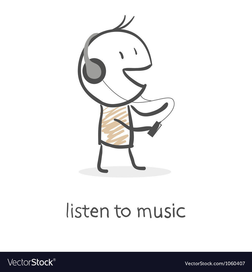 Cartoon man listening to music vector | Price: 1 Credit (USD $1)