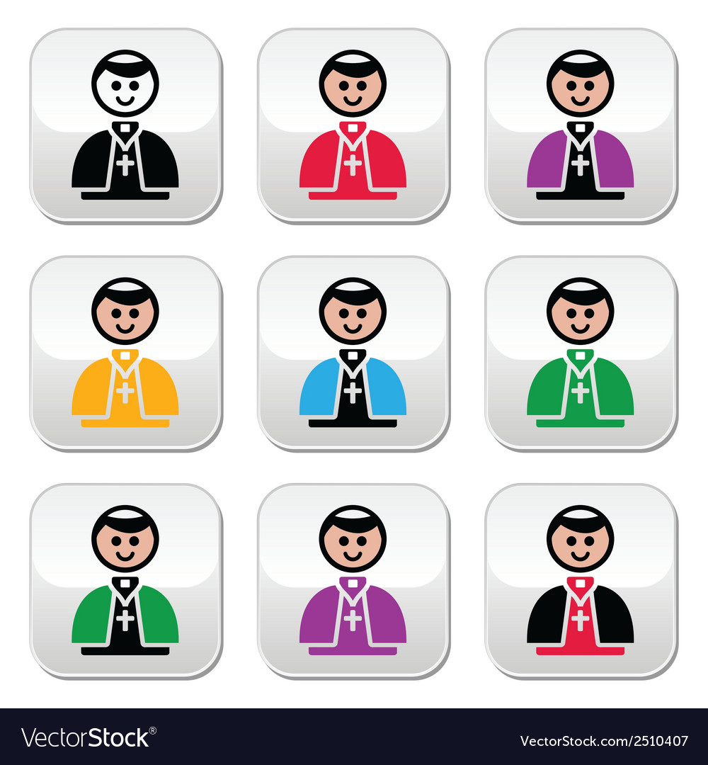 Catholic church pope buttons set vector | Price: 1 Credit (USD $1)