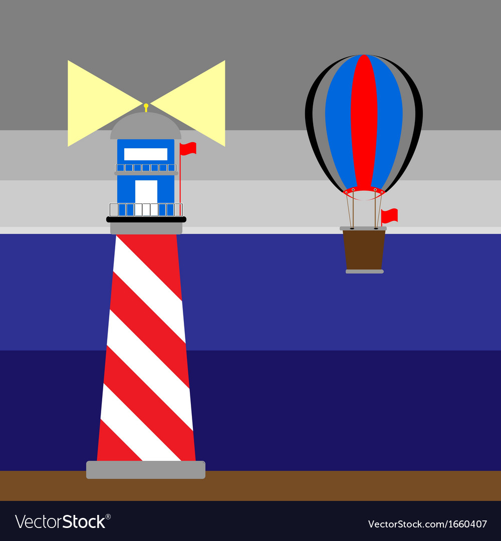 Create lighthouse and balloon at night vector | Price: 1 Credit (USD $1)