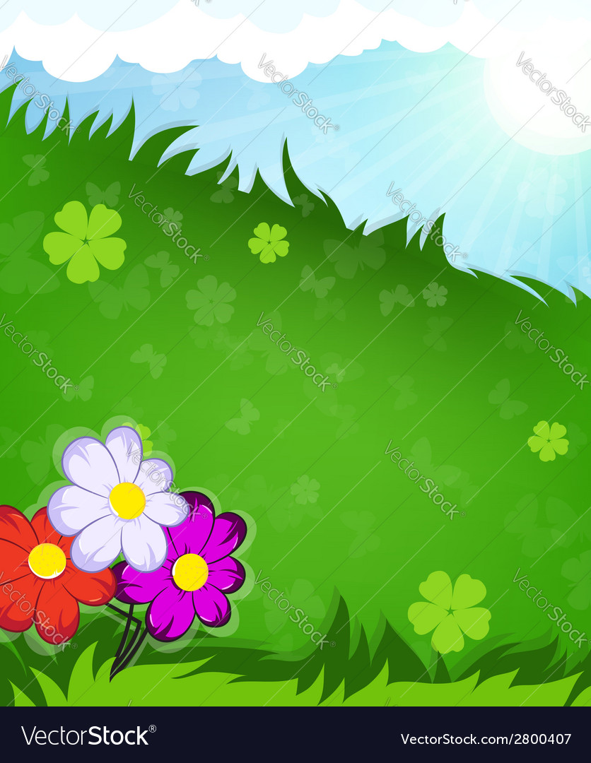 Flowers in the meadow vector | Price: 1 Credit (USD $1)