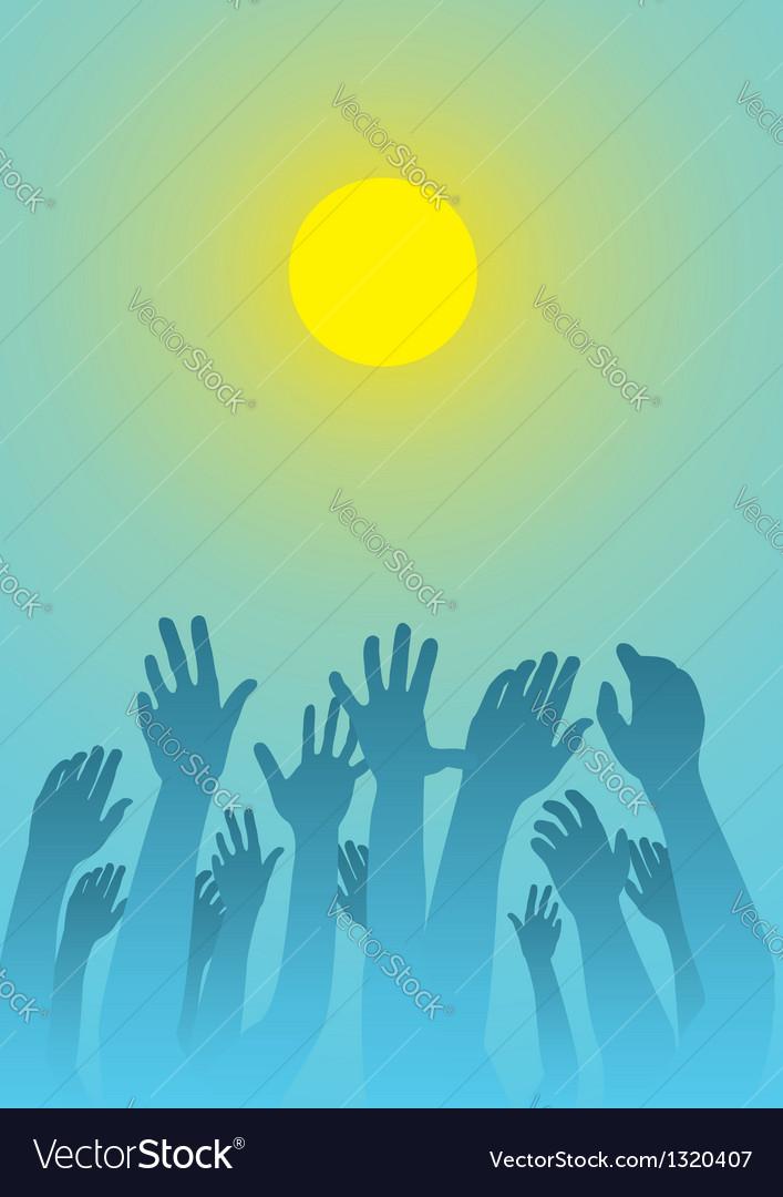 Raised hands vector | Price: 1 Credit (USD $1)