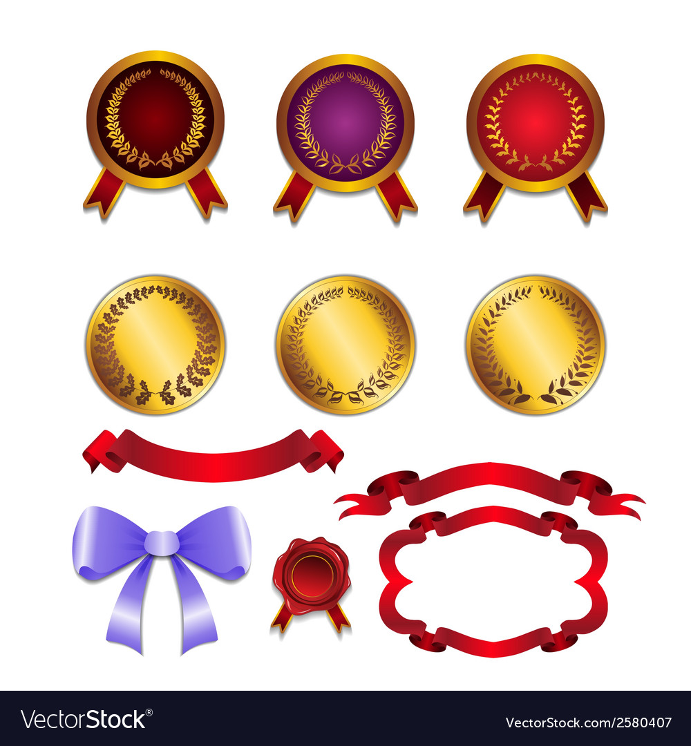 Set for design ribbons medals vector | Price: 1 Credit (USD $1)