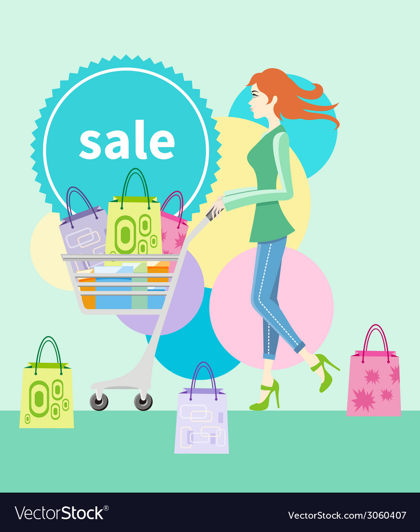 Shopping girl with trolley shopping bag with lable vector | Price: 1 Credit (USD $1)