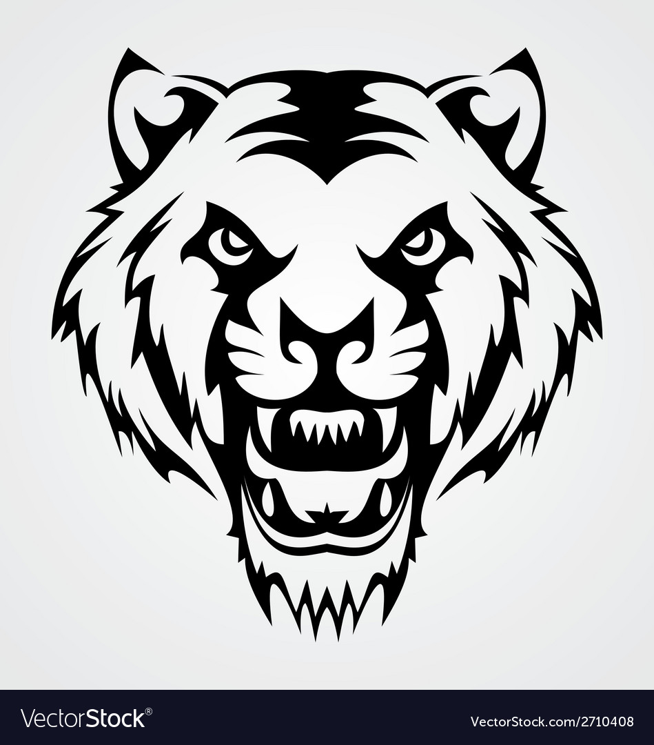 Angry tiger face tribal vector | Price: 1 Credit (USD $1)