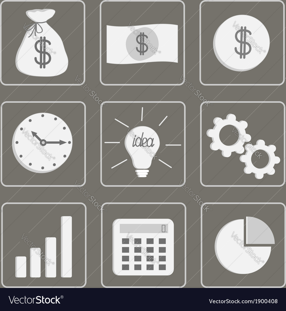 Business icons set grey vector | Price: 1 Credit (USD $1)