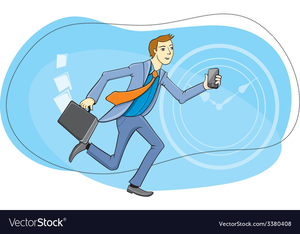 Businessman with phone in hand running vector | Price: 1 Credit (USD $1)